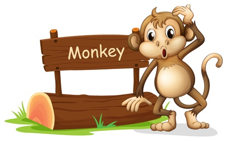 Illustration of a monkey beside a sign board on a white background Illustration