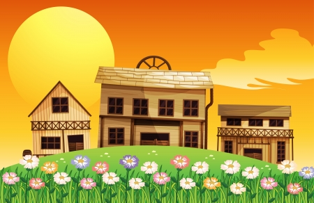 wooden houses: Illustration of a sunset scene with wooden houses
