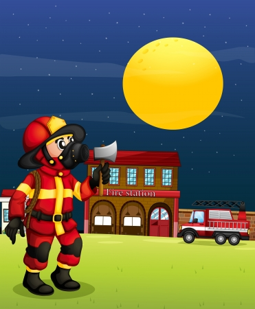 Illustration of a fireman in the middle of the night Vector