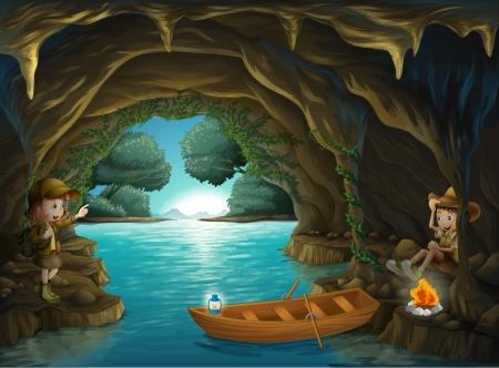 groty: Ilustracja młodej dziewczyny i chłopca wewnątrz jaskini