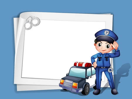 Illustration of a policeman beside a police car on a blue background Vector