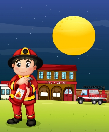 Illustration of a fireman with a fire extinguisher Vector