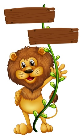 Illustration of a lion holding a sign board on a white background  Vector