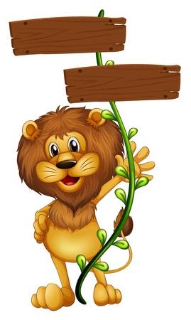 lion drawing: Illustrazione di un leone in possesso di un cartello su sfondo bianco
