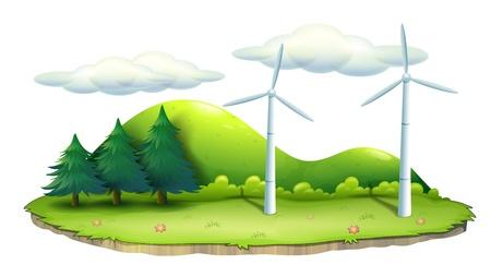 Ilustracja z wiatrakami na wyspie na białym tle