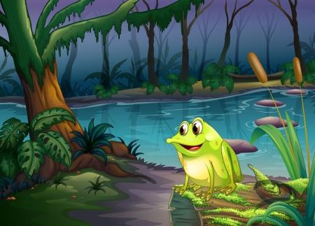 blue frog: Ilustraci�n de una rana sobre un tronco con algas Vectores