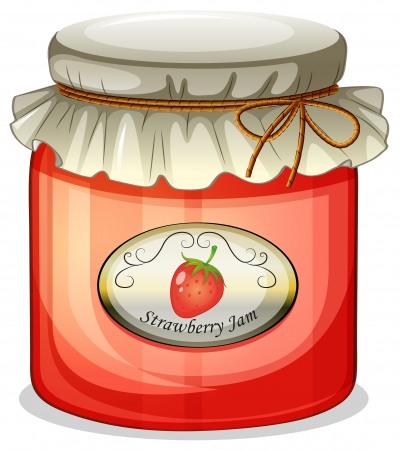 food storage: Illustration of a strawberry jam on a white background