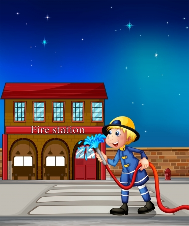 water hoses: Illustration of a fireman near a fire station  Illustration