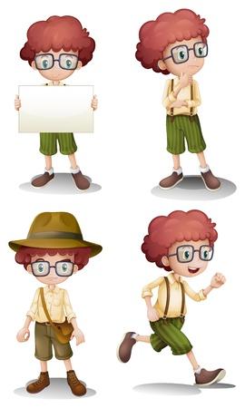 Ilustración de los diferentes estados de ánimo de un joven en un fondo blanco