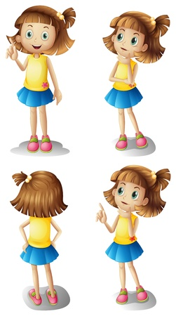 little girl child: Illustration of the different moods of a young girl on a white background