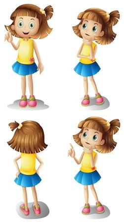 Ilustración de los diferentes estados de ánimo de una chica joven en un fondo blanco