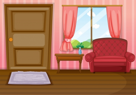 pink hills: Illustration of an empty living room