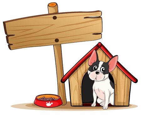 dog kennel: Illustration of a dog and the empty signboard on a white background