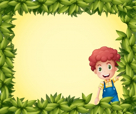 Illustration of a  boy inside a leafy frame Vector