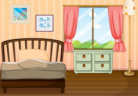 bedroom interior: Illustration of an empty bedroom
