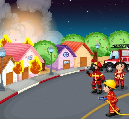 brandweer cartoon: Illustratie van een brand in het dorp
