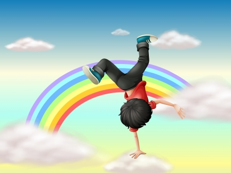Illustraton of a boy performing a break dance along the rainbow