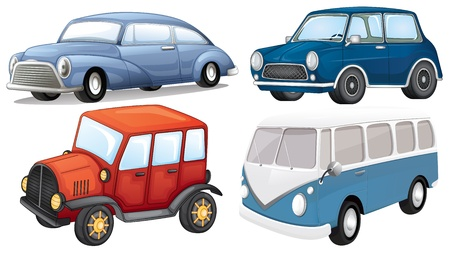 4 wheel: Illustration of a different vehicle styles on a white background