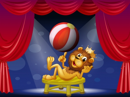 Illustration of a lion king performing on stage Vector