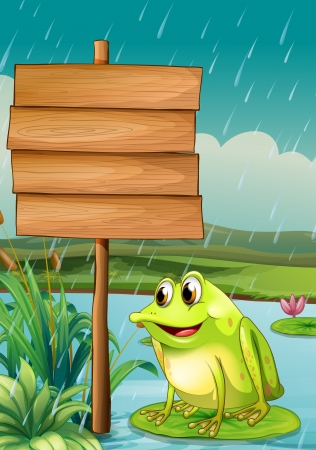 water weed: Illustration of a frog near an empty wooden board