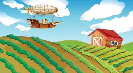 cartoon land: Illustration of an airship passing over a farm