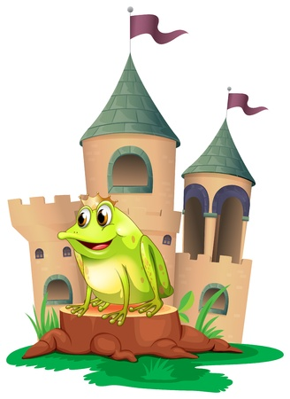illustration: Illustration of a frog prince with a castle at his back on a white background Illustration