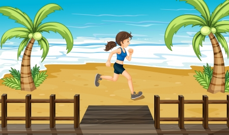 Illustration of an athlete jogging at the seashore Stock Vector - 17927757