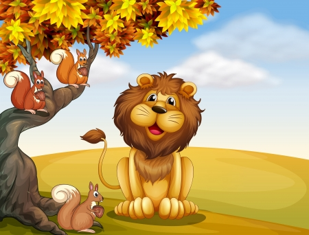 Illustration of a lion with three squirrels at the hilltop Vector