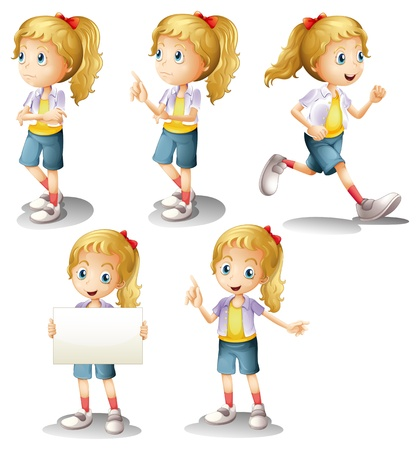 Illustration of a girl with different positions on a white background