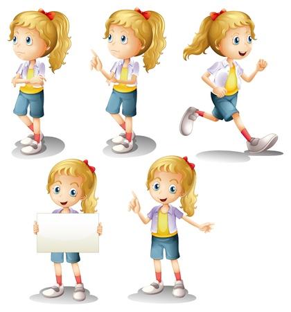 Ilustración de una niña con posiciones diferentes sobre un fondo blanco
