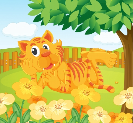Illustration of a tiger in the fenced garden Stock Vector - 17918105