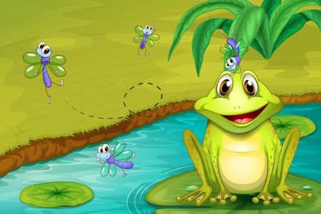 blue frog: Illustration of a frog and flies