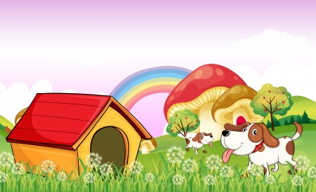 Illustration of a doghouse near the weeds Vector