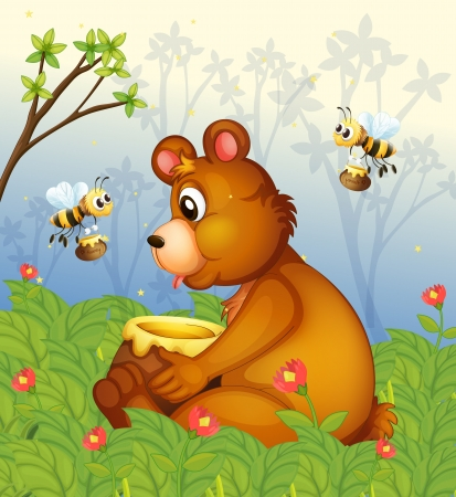 Illustration of a bear and the pot of honey in the middle of the forest Vector