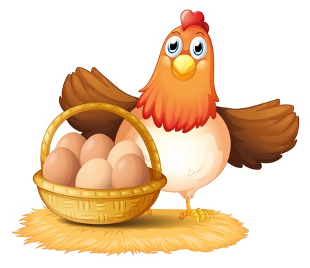 Illustration of a hen and a basket of egg on a white background Stock Illustratie