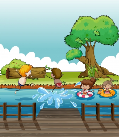 Illustration of children having fun at the river Vector