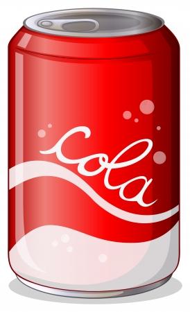 Illustratie van een blikje cola op een witte achtergrond