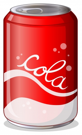 lata de refresco: Ilustración de una lata de refresco de cola sobre un fondo blanco