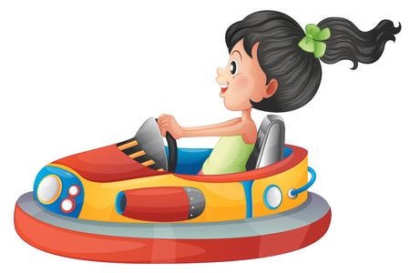 Illustration of a girl driving the bumpercar on a white background Stock Vector - 18004904