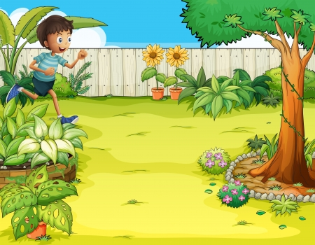 Illustration of a boy running at the backyard Vector