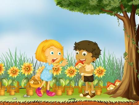 Ilustracja dziewczyna zatrzymanie chłopca od zjedzenia grzybów