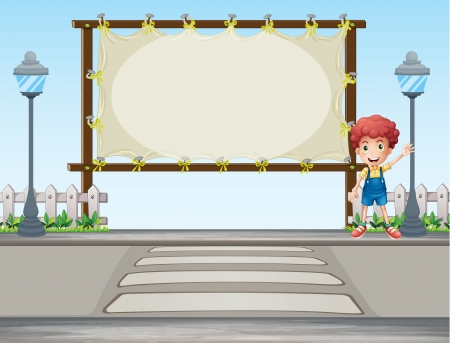 Illustration of a boy waving his hand near a signboard Vector
