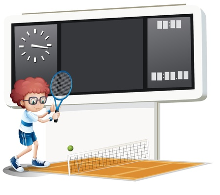 raquet: Illustration of a boy playing tennis on a white background