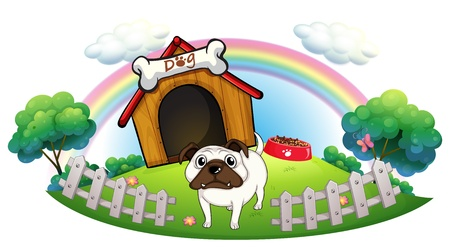 doghouse: Illustration of a dog with a doghouse on a white background Illustration