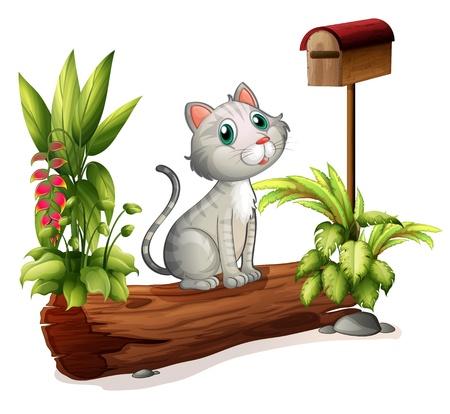 cartoon poes: Illustratie van een kat boven een boomstam in de buurt van de houten brievenbus op een witte achtergrond