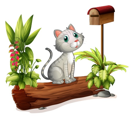 postbox: Illustration of a cat above a trunk near the wooden mailbox on a white background