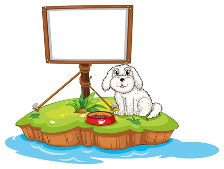 Illustration of a puppy and the empty board in an island on a white background Stock Vector - 18004888