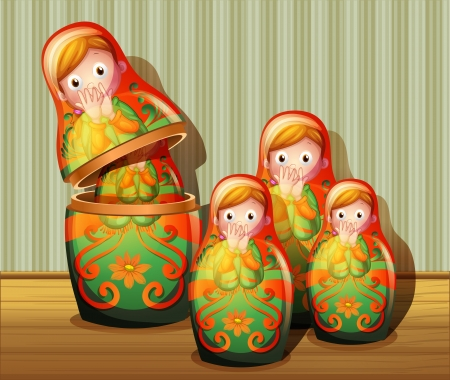 wooden doll: Illustration of the colorful russian dolls