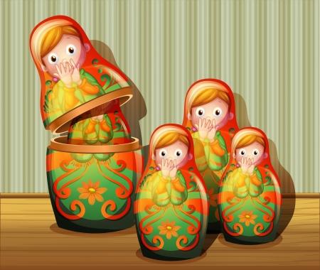 mu�ecas rusas: Ilustraci�n de las mu�ecas rusas coloridas