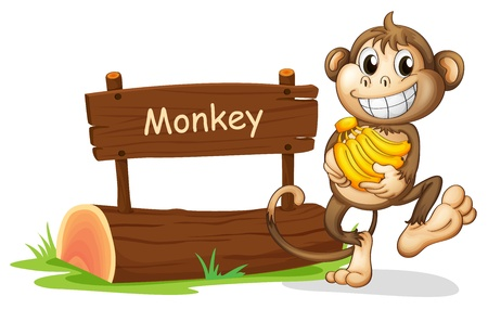 Illustration of a monkey holding bananas on a white background Vector